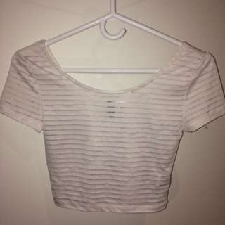 H&M Divided Mesh Crop Top