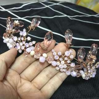 結婚裙褂頭飾 粉紅色水鑽水滴珠珠皇冠