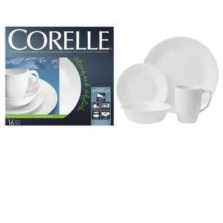 堅固 輕巧 康寧白色杯碟 1 set 16件套裝 Corelle Livingware 16 Piece Dinnerware Set, Service for 4