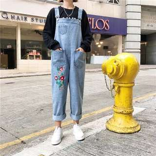 Floral Embroidery Oversized Denim Dungaree