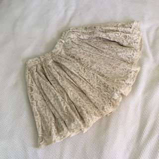 Beautiful Cream Lace ruffled circle skirt