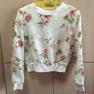 Woolen Mesh Floral Long Sleeve