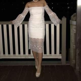 Bardot white lace midi dress