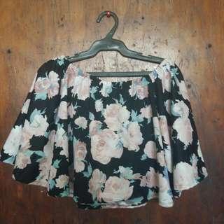 Floral Crop Off Shoulder Boho Black Top