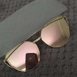 Gold Rim / Pink Lense Cat Eye Glasses