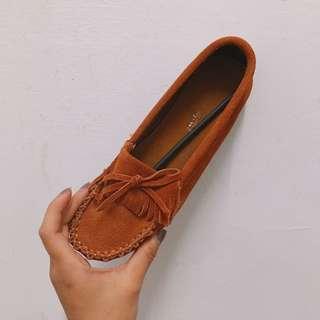 麂皮卡其橘娃娃鞋 豆豆鞋