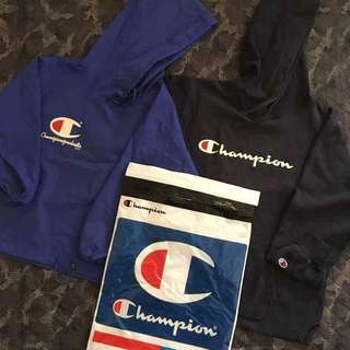 🔴CHAMPION🔵 ⚪Champion windbreaker(junior size) 20.5x22.5(16 Sleeve) ⚫ champion hoodie 20x23.5