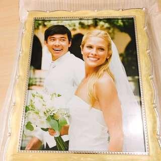 鑲銀花邊大相架 結婚禮物