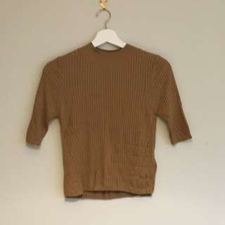 TOPSHOP Camel Knit Top Size 10