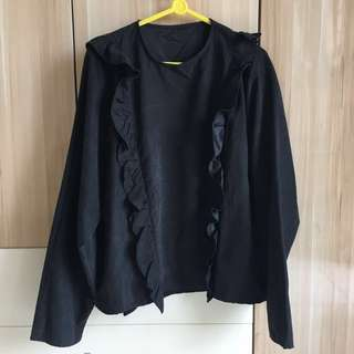 Pomelo black ruffle blouse