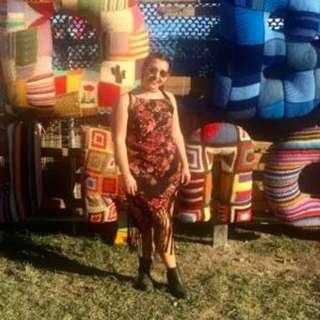 Midi Floral Fringe Dress