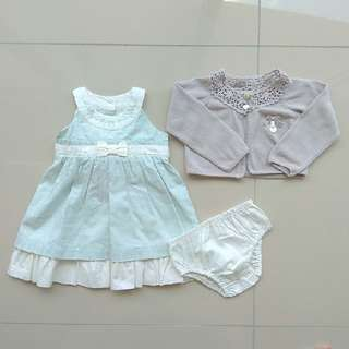 ADORABLE TRUDY & TEDDY MINT BABY GIRL DINNER DRESS AND CARDIGAN CUTE PRETTY SET