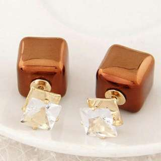 Ginyaa Dior square In Brown Earrings