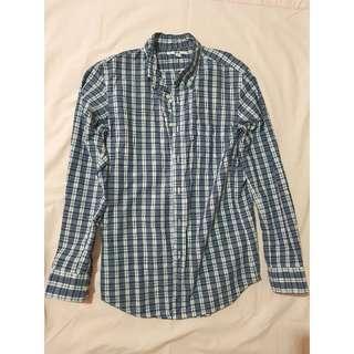 Blue Uniqlo Plaid Button Down Shirt