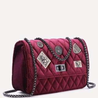Maroon Embellished Boxy Quilted