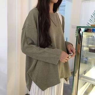 韓版寬鬆顯瘦純色圓領套頭開叉長袖衛衣大學t