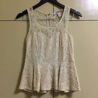 FOREVER21 CONTEMPORARY Lace Cut Out Peplum Top
