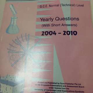 Science - GCE Normal Technical Level yearly questions