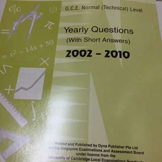 Mathematics GCE Normal Technical Level yearly questions