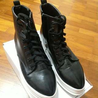 Black High Cut Leather Shoes
