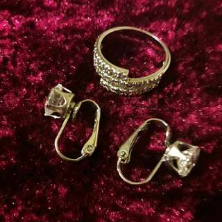 ring and subang silver