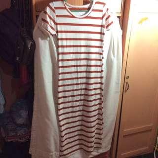 Striped Long Dress w/ Slit