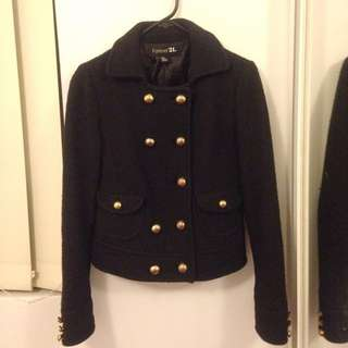 Forever 21 Size s Black Jacket With Gold Hardware