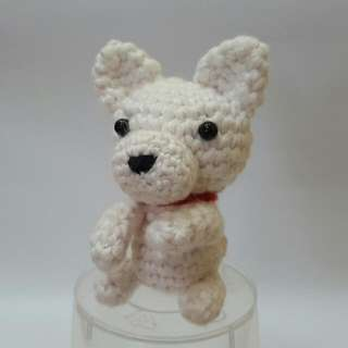 Hokkaido Dog Crochet - Japanese Amigurumi White Dog - Crocheted Dog Plush Toy With Silver Keyring And Lobster Clasp