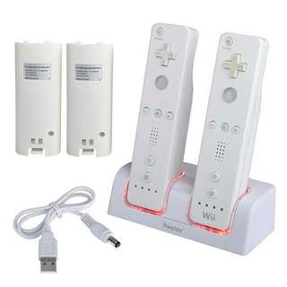 White Dual Charging Station + 2 Battery Packs For Wii/Wii U Remote Control