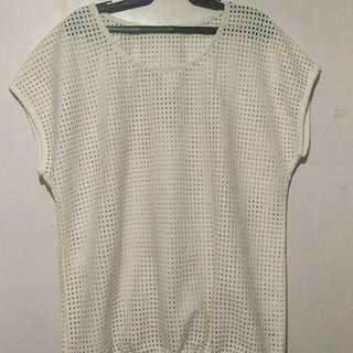 Off white cover up blouse