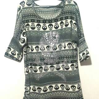 3/4 Sleeves Aztec Skull Blouse