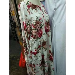 Dress Red Flower Shabby Chic Vintage Gamis Katun