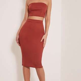 PLT bandeau with choker and skirt co-ord