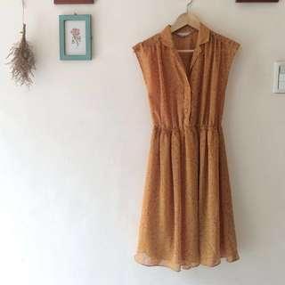鳥樹 黃色古著洋裝 降價