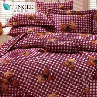 【樂】100%天絲TENCEL 雙人/雙人加大/特大 40支天絲 四件式鋪棉兩用被套床包組&鋪棉兩用被套床罩組(米格熊)