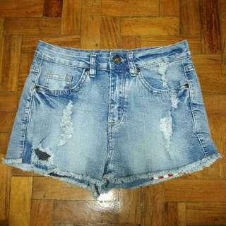 🌼High Waist Denim Shorts with American Flag Pockets