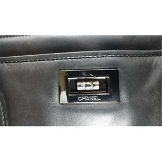 Chanel black genuine leather silver hardware handbag w/ detachable pouch, made in France, plus P100 LBC shipment - # 7094 GN 445