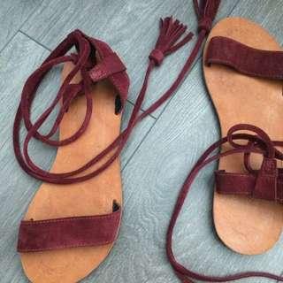 Sz 8.5 / 9 Tassel Ankle Wrap Sandals