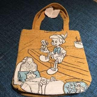 日本廸士尼小木偶Pinocchio綿麻袋