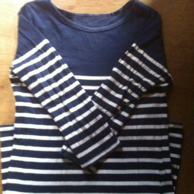 3/4 sleeve blue and white stripes