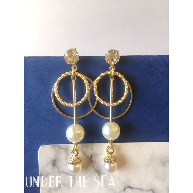 雙圓圈珍珠耳環