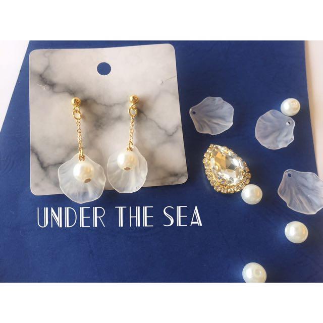 扇形貝殼珍珠耳環