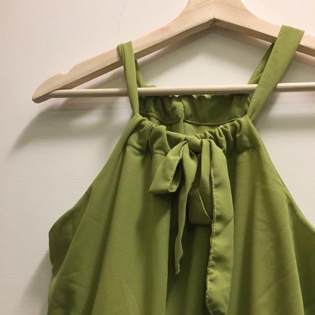 青綠雪紡削尖洋裝💚
