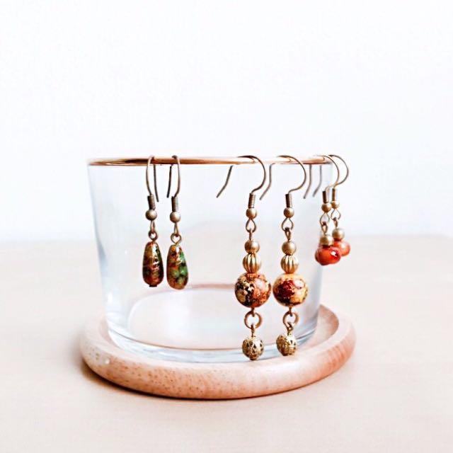 日本選物:: 鑲金邊耳環手環 飾品杯