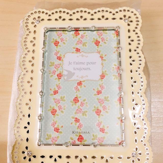 鑲銀花邊相架 結婚禮物 粉黃色