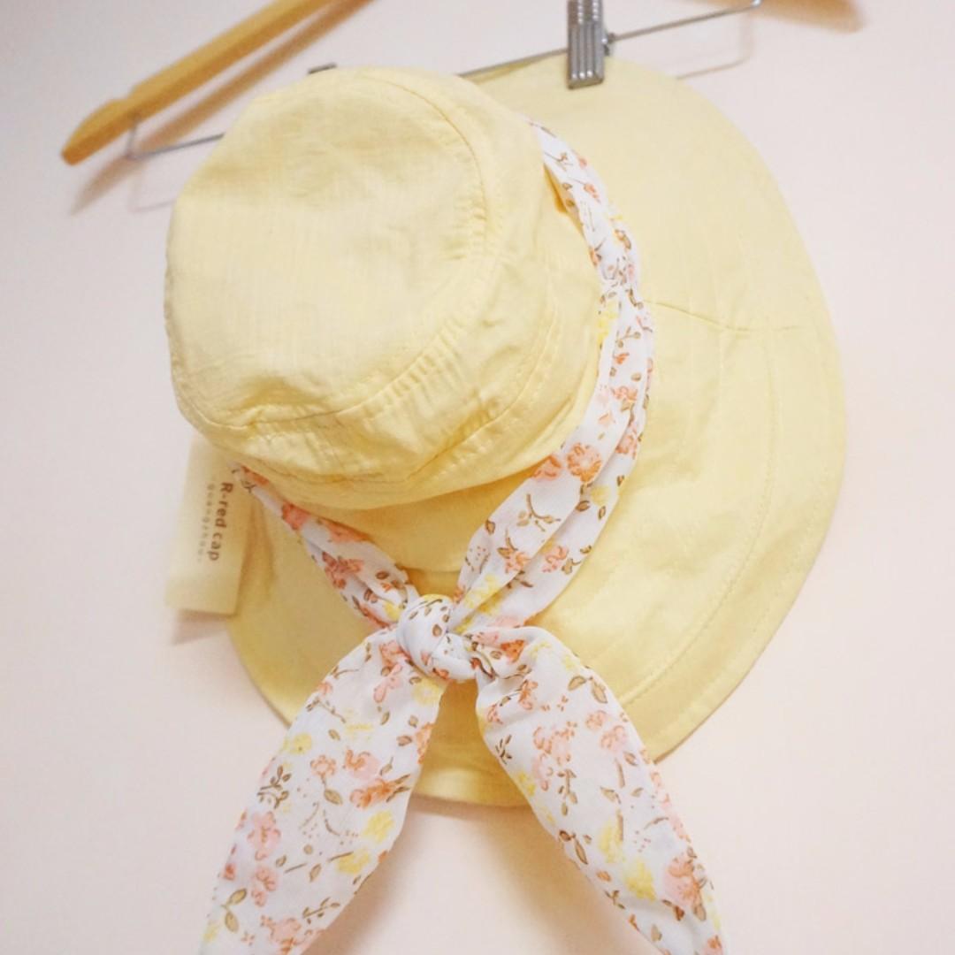全新 鵝黃 碎花 遮陽帽