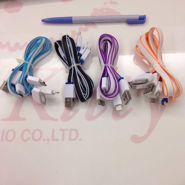 全新✨ 充電線 電源線 黑 藍 橘 紫 彩色綜合充電線 iOS 安卓 皆可用