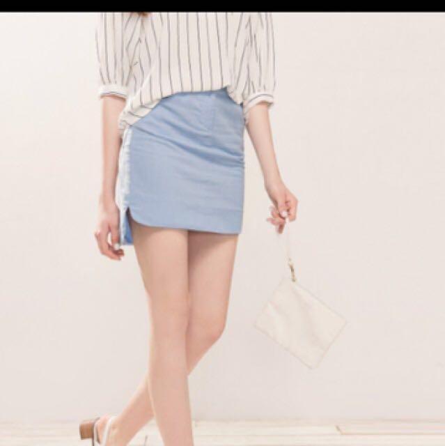 藍色休閒短裙 S號