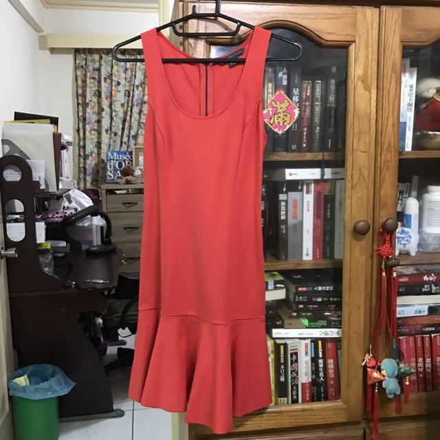 Armani Exchange 超美橘色荷葉裙小洋裝