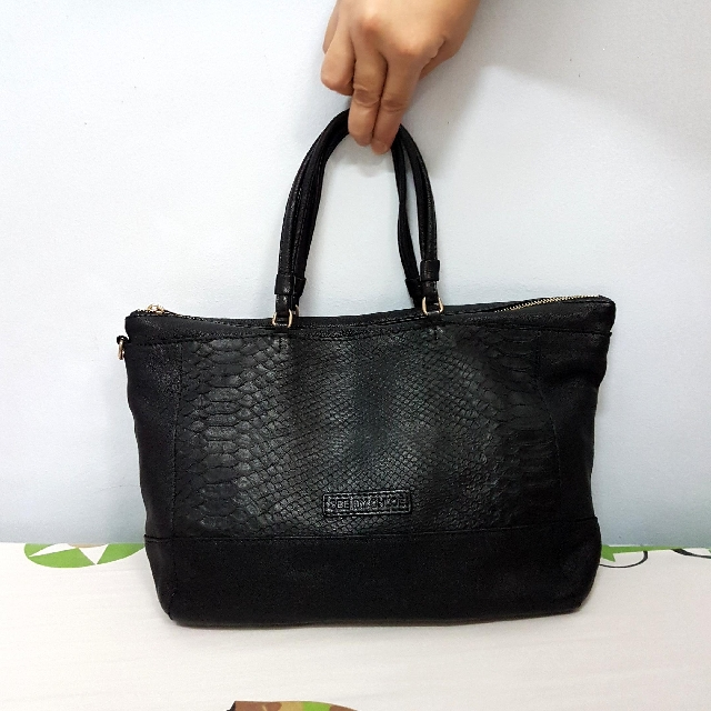 REPRICED Authentic See By Chloe Genuine Leather Black Tote Bag With Snakeskin Design